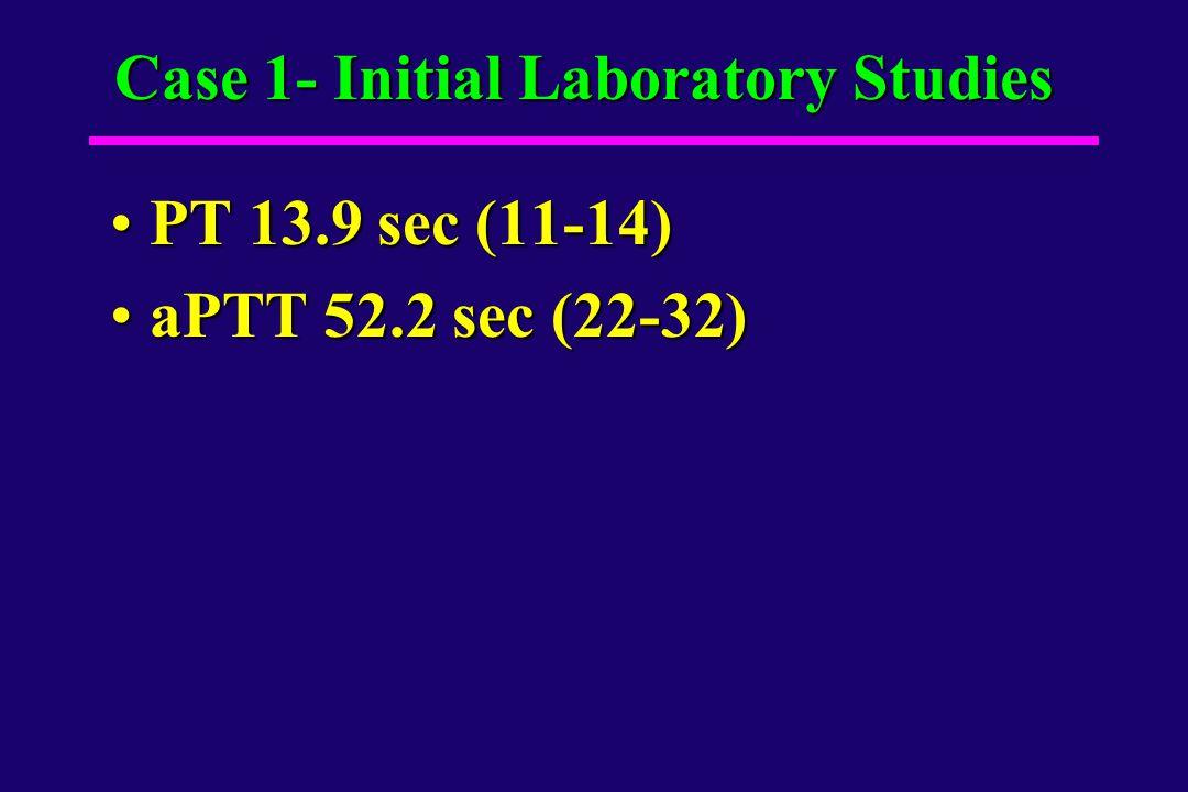 Case 1- Initial Laboratory Studies PT 13.9 sec (11-14)PT 13.9 sec (11-14) aPTT 52.2 sec (22-32)aPTT 52.2 sec (22-32)