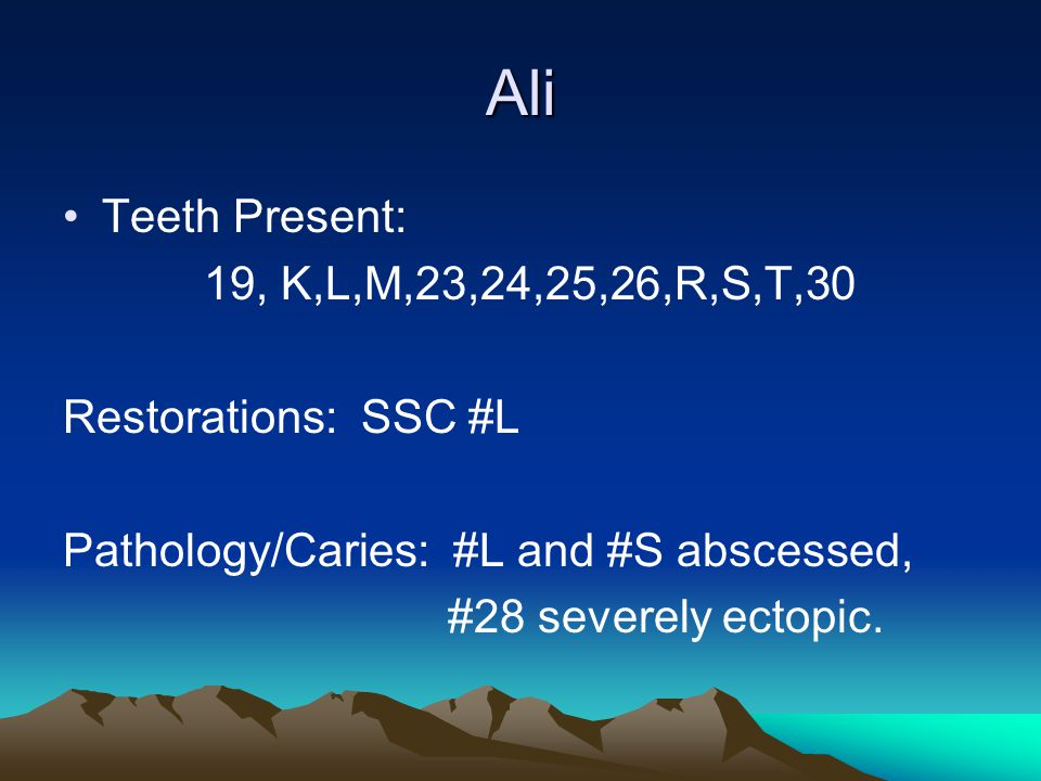 Ali Teeth Present: 19, K,L,M,23,24,25,26,R,S,T,30 Restorations: SSC #L Pathology/Caries: #L and #S abscessed, #28 severely ectopic.