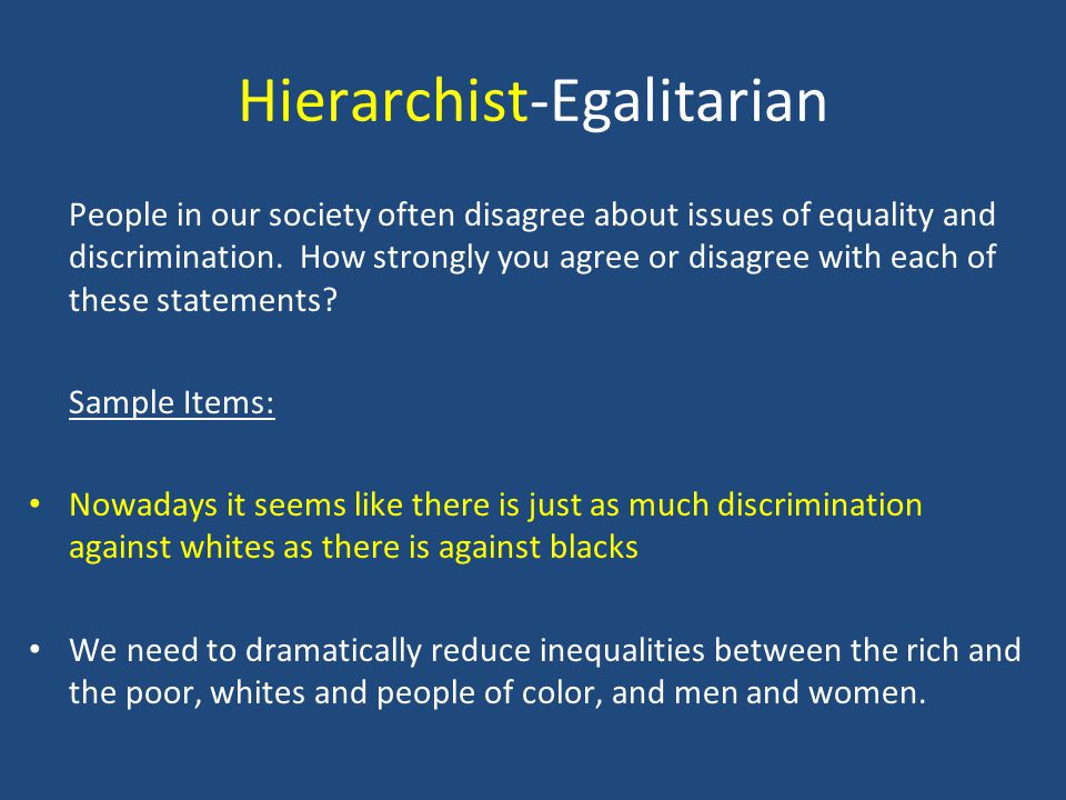 Hierarchist-Egalitarian People in our society often disagree about issues of equality and discrimination. How strongly you agree or disagree with each