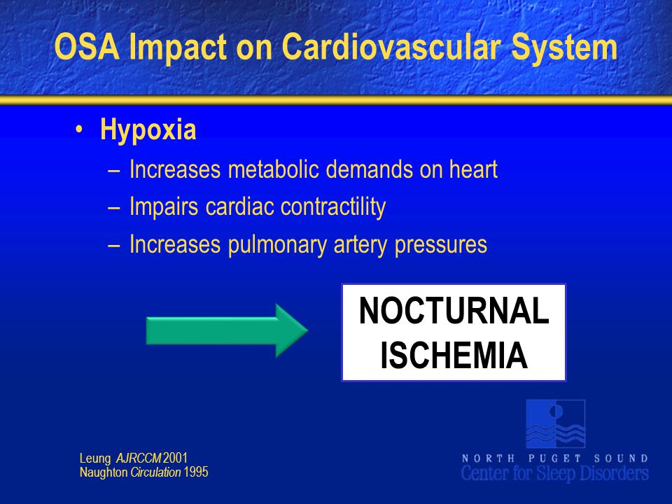 OSA Impact on Cardiovascular System Hypoxia –Increases metabolic demands on heart –Impairs cardiac contractility –Increases pulmonary artery pressures