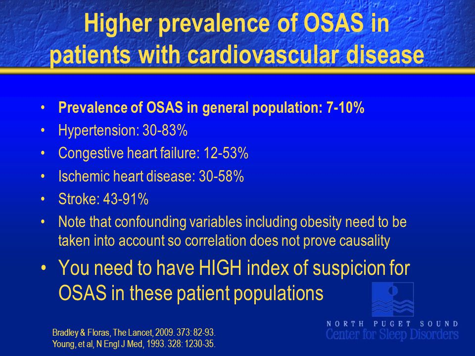 Higher prevalence of OSAS in patients with cardiovascular disease Prevalence of OSAS in general population: 7-10% Hypertension: 30-83% Congestive hear