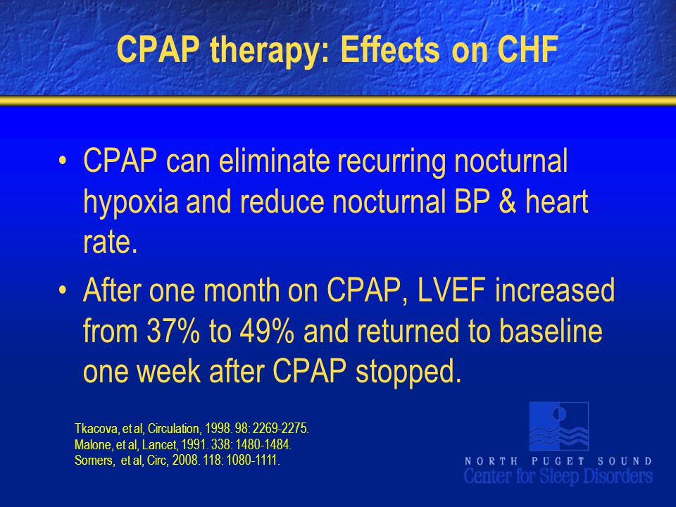 CPAP therapy: Effects on CHF CPAP can eliminate recurring nocturnal hypoxia and reduce nocturnal BP & heart rate. After one month on CPAP, LVEF increa