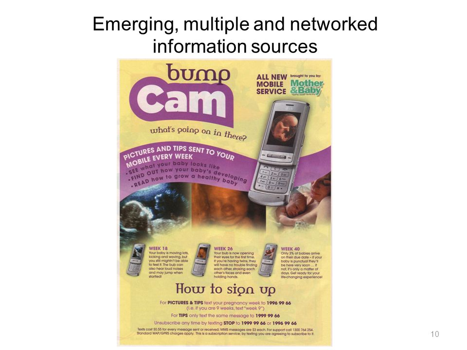 Emerging, multiple and networked information sources 10