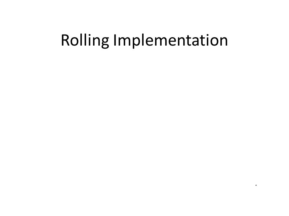 Rolling Implementation Gradual reallocation of resources and expectations.