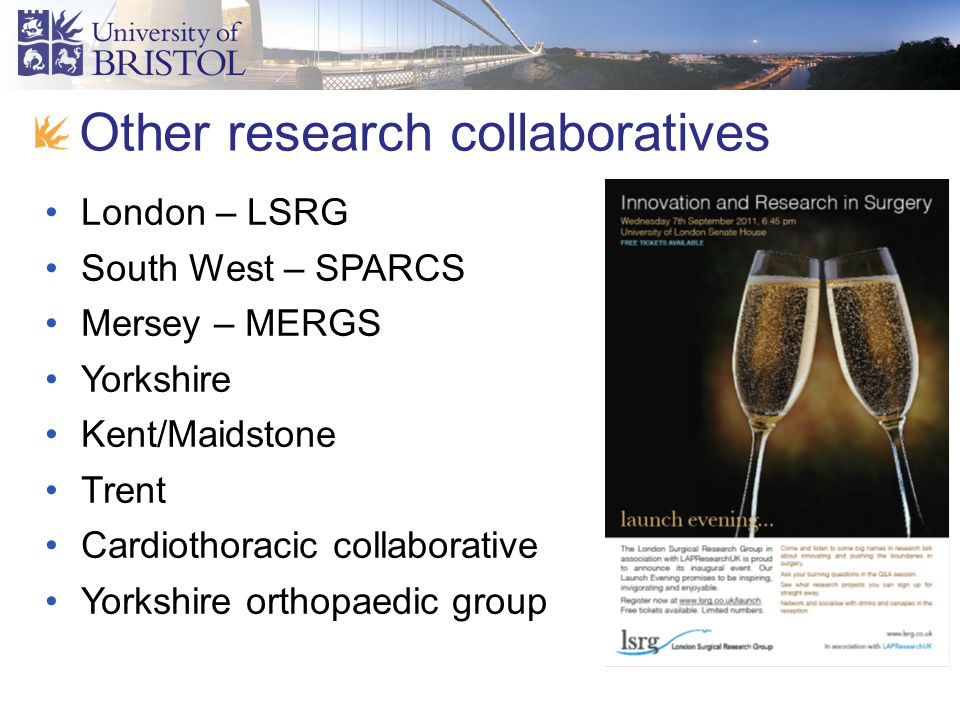 Made by Srikant Ganesh Other research collaboratives London – LSRG South West – SPARCS Mersey – MERGS Yorkshire Kent/Maidstone Trent Cardiothoracic collaborative Yorkshire orthopaedic group