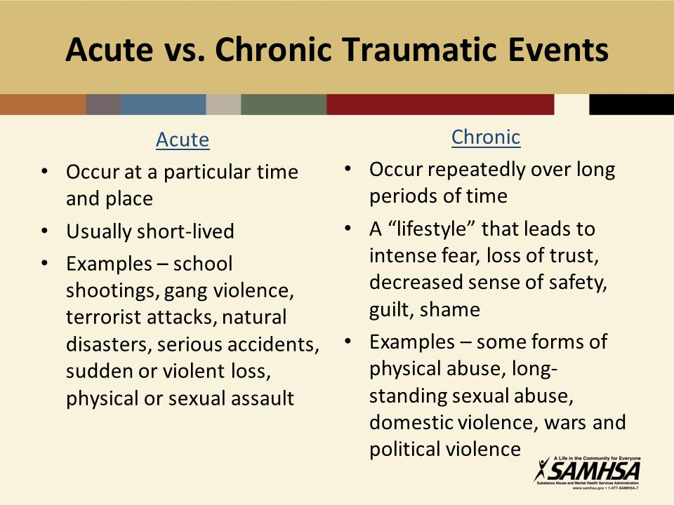 The bodys acute physical response to trauma Physical response: Fight, flight, or freeze >> The bodys reaction to perceived threat or danger.
