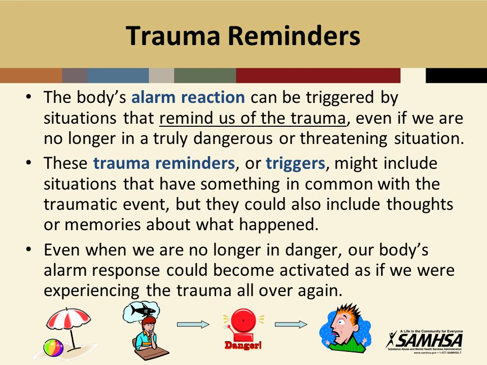 Substance Abuse Components Help identify triggers and manage cravings Relapse prevention: Acknowledge and prepare for the role of stress and trauma on relapse Drug refusal skills Motivational interviewing