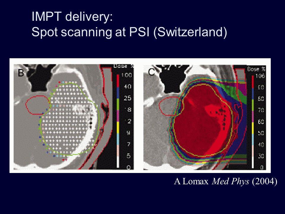 PSI gantry radmed.web.psi.ch/asm/gantry/intro/n_intro.html Gantry radius 2m Rotation 185 deg Step-and-shoot scanning: 200 MeV proton beam is stopped at regular intervals, no irradiation between beam spots magnets range shifter beam monitor sweeper quad