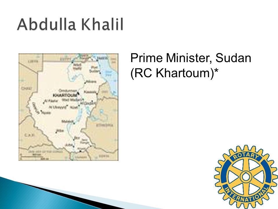 Prime Minister, Sudan (RC Khartoum)*
