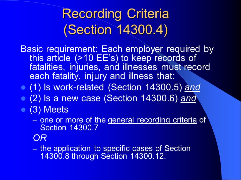 If a claim is Not on the List of Severe Injury/Illness and On the List of First Aid Treatment it is Non-Recordable Recordable = need to record injury/illness in OSHA 300 log Current definition of First Aid and Recordability took effect January 1, 2002 Didnt get changed in 2004/2005 during WC reform Greater clarity than previous regulation Less flexibility for favorable interpretation (manipulation) Non-occupational causation (not work related) is other main reason for Non-Recordable
