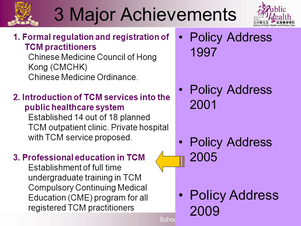 Policy Address 1997 Policy Address 2001 Policy Address 2005 Policy Address 2009 1. Formal regulation and registration of TCM practitioners Chinese Med
