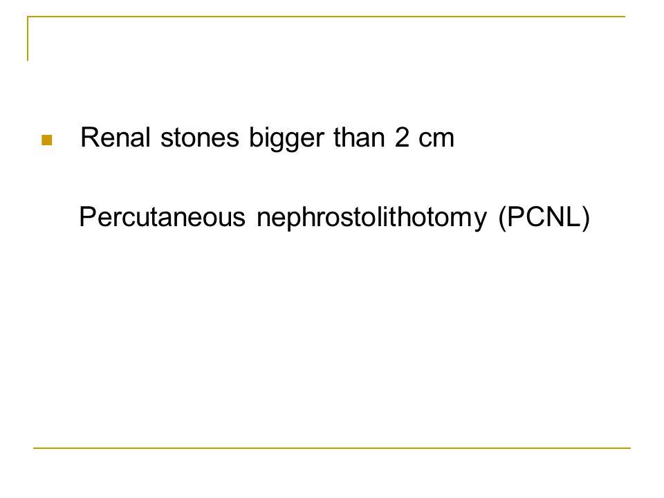 Renal stones bigger than 2 cm Percutaneous nephrostolithotomy (PCNL)