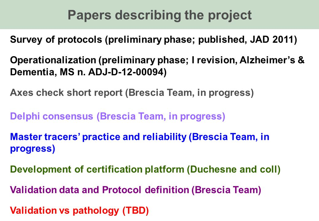 Papers describing the project Survey of protocols (preliminary phase; published, JAD 2011) Operationalization (preliminary phase; I revision, Alzheimers & Dementia, MS n.