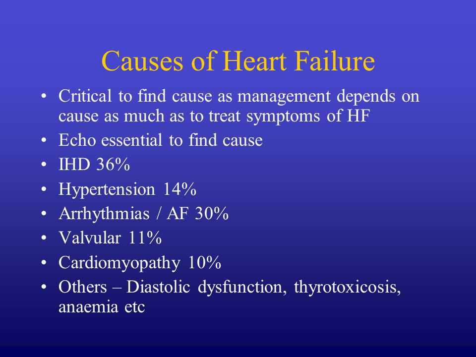 Causes of Heart Failure Critical to find cause as management depends on cause as much as to treat symptoms of HF Echo essential to find cause IHD 36%