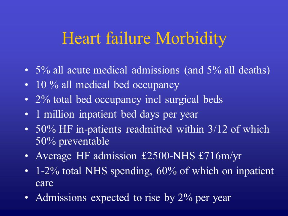 Causes of Heart Failure Critical to find cause as management depends on cause as much as to treat symptoms of HF Echo essential to find cause IHD 36% Hypertension 14% Arrhythmias / AF 30% Valvular 11% Cardiomyopathy 10% Others – Diastolic dysfunction, thyrotoxicosis, anaemia etc