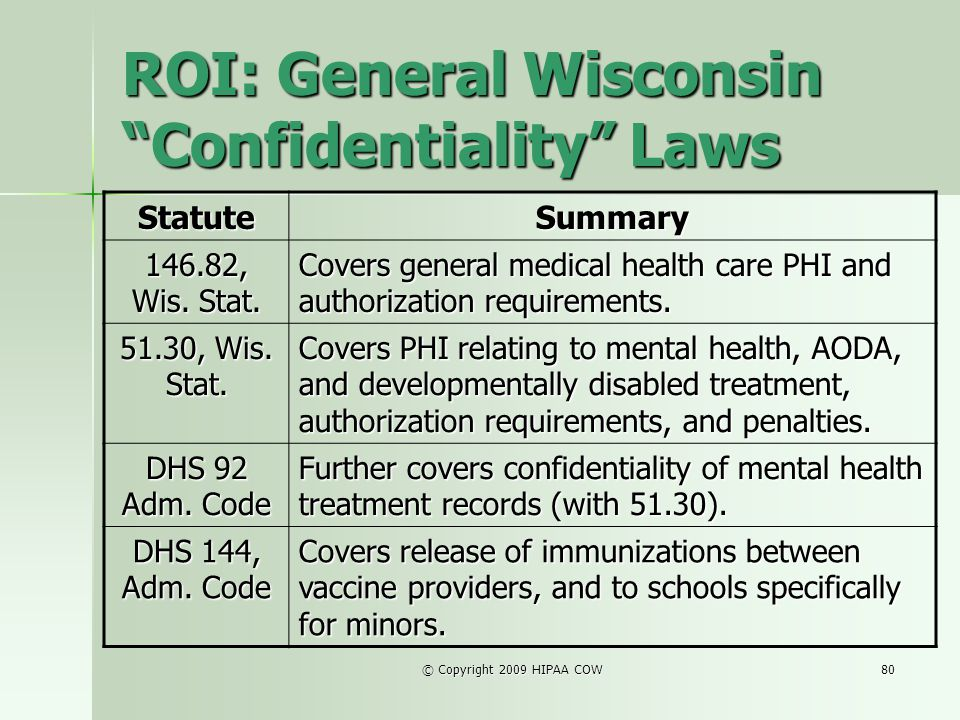 © Copyright 2009 HIPAA COW80 ROI: General Wisconsin Confidentiality Laws StatuteSummary 146.82, Wis. Stat. Covers general medical health care PHI and