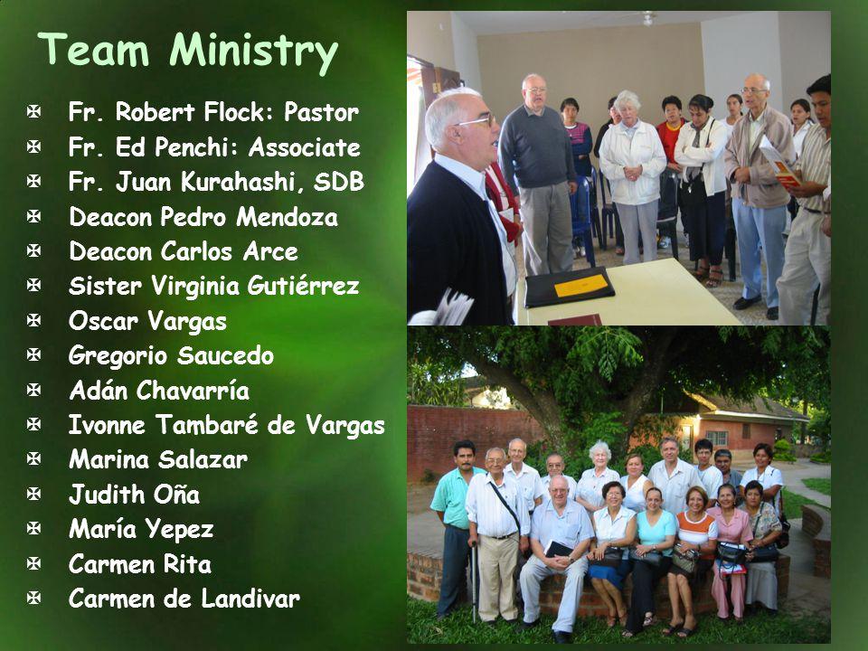 Team Ministry Fr. Robert Flock: Pastor Fr. Ed Penchi: Associate Fr. Juan Kurahashi, SDB Deacon Pedro Mendoza Deacon Carlos Arce Sister Virginia Gutiér