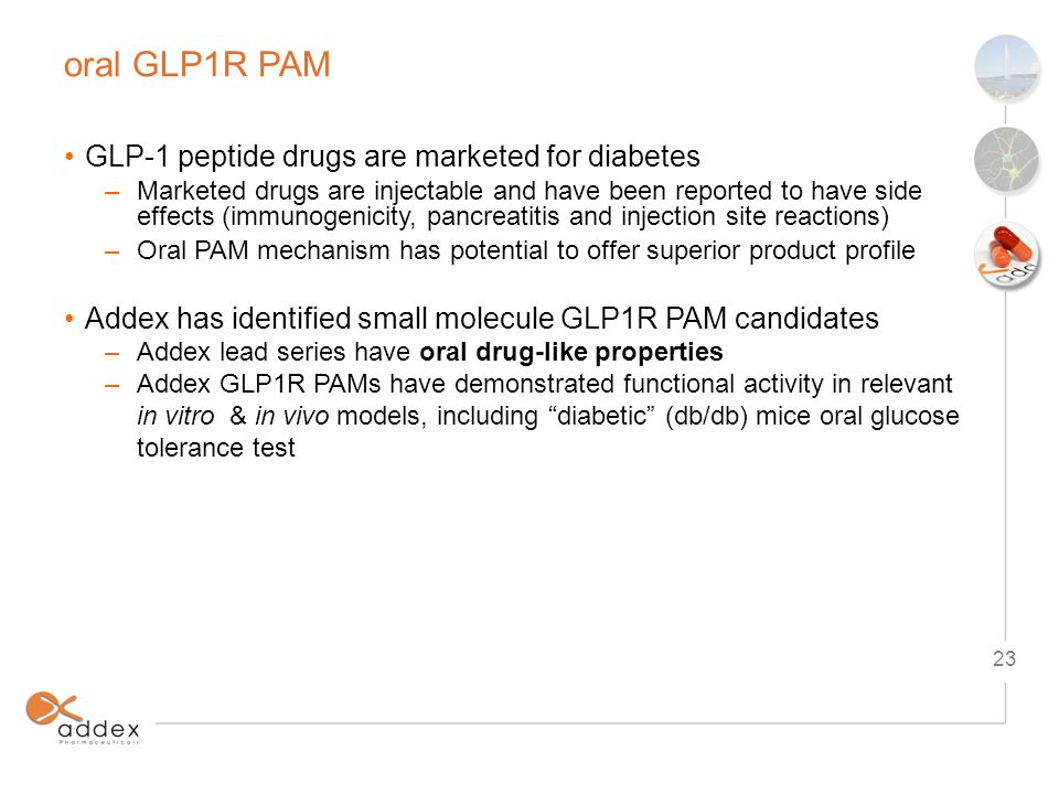 oral GLP1R PAM 23 GLP-1 peptide drugs are marketed for diabetes –Marketed drugs are injectable and have been reported to have side effects (immunogenicity, pancreatitis and injection site reactions) –Oral PAM mechanism has potential to offer superior product profile Addex has identified small molecule GLP1R PAM candidates –Addex lead series have oral drug-like properties –Addex GLP1R PAMs have demonstrated functional activity in relevant in vitro & in vivo models, including diabetic (db/db) mice oral glucose tolerance test