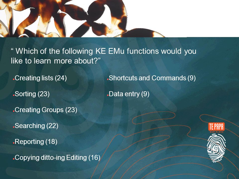 Which of the following KE EMu functions would you like to learn more about.