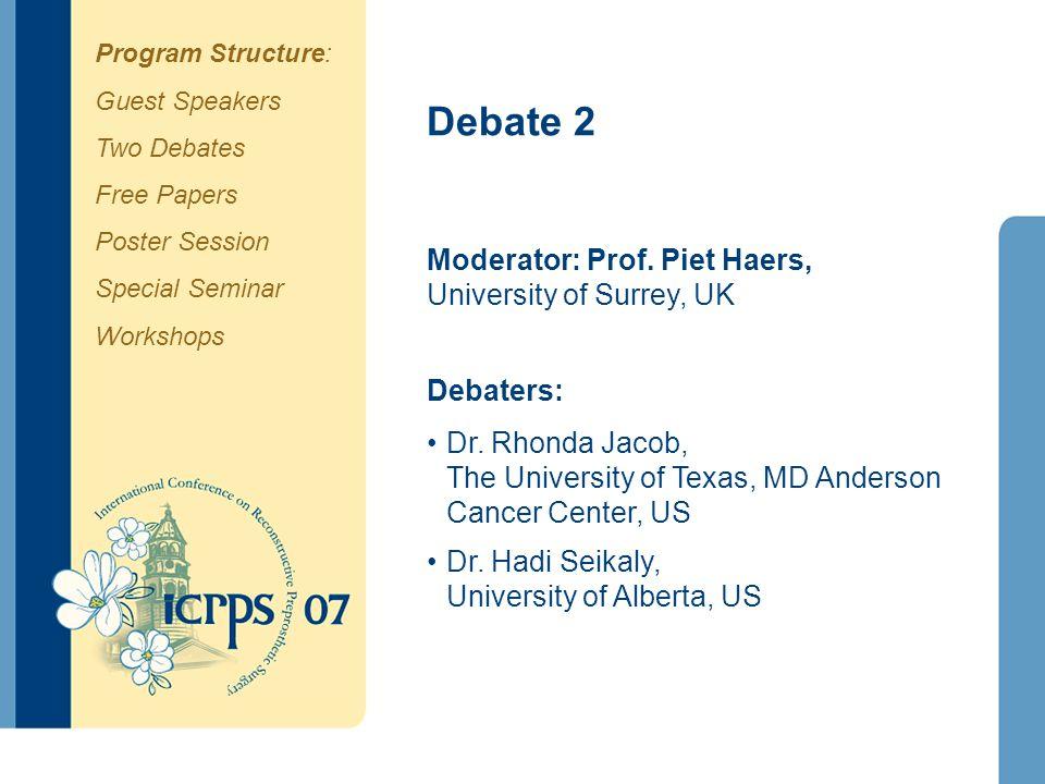 Debate 2 Moderator: Prof. Piet Haers, University of Surrey, UK Debaters: Dr. Rhonda Jacob, The University of Texas, MD Anderson Cancer Center, US Dr.