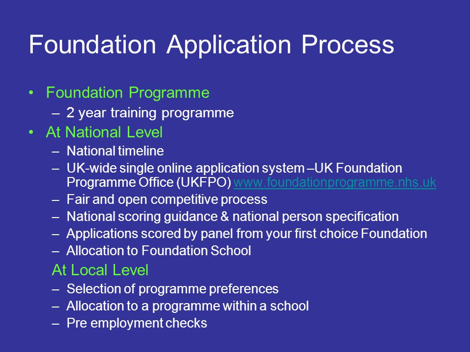 Foundation Application Process Foundation Programme –2 year training programme At National Level –National timeline –UK-wide single online application
