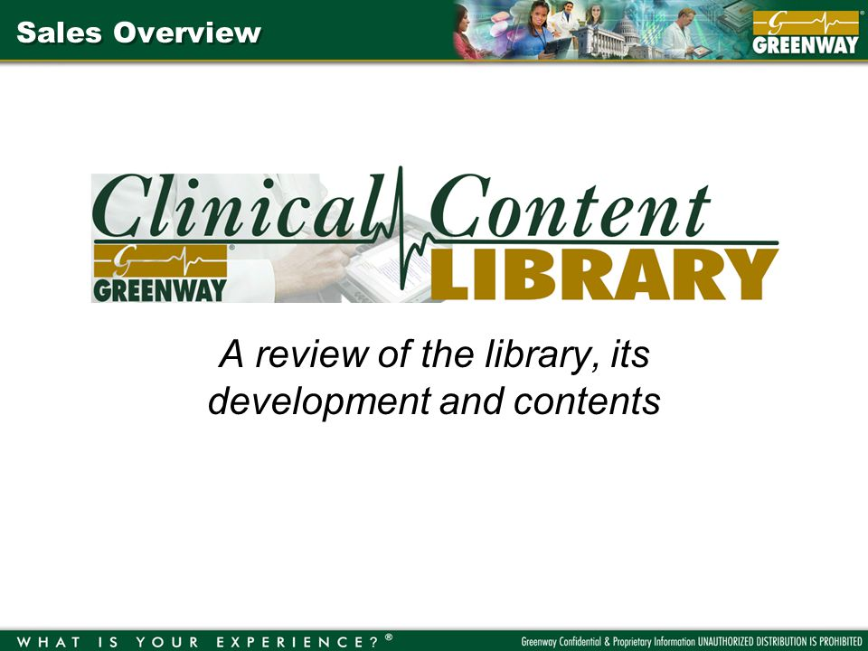 Sales Overview A review of the library, its development and contents