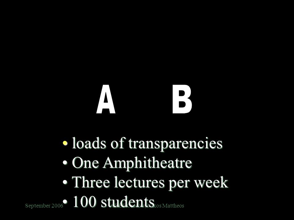 September 2006ADEE Cracow, Nikos Mattheos loads of transparencies loads of transparencies One Amphitheatre One Amphitheatre Three lectures per week Three lectures per week 100 students 100 students