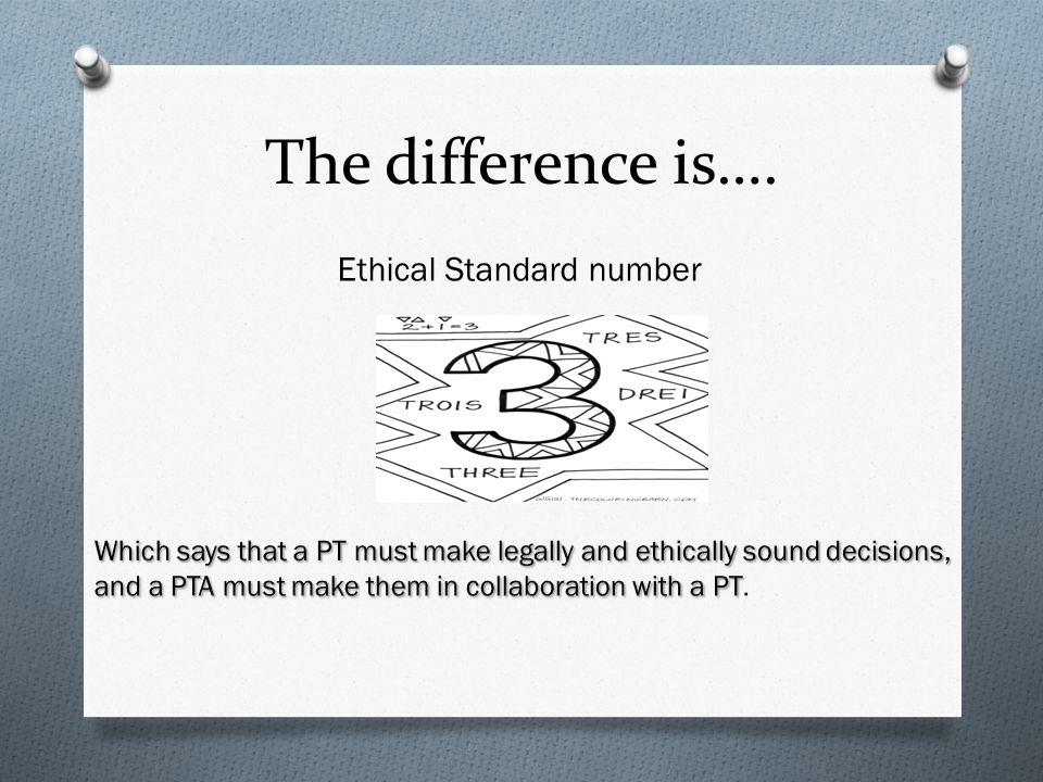 The difference is…. Ethical Standard number