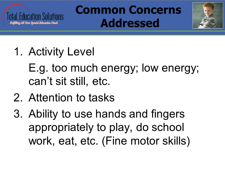 Common Concerns Addressed 1.Activity Level E.g. too much energy; low energy; cant sit still, etc.