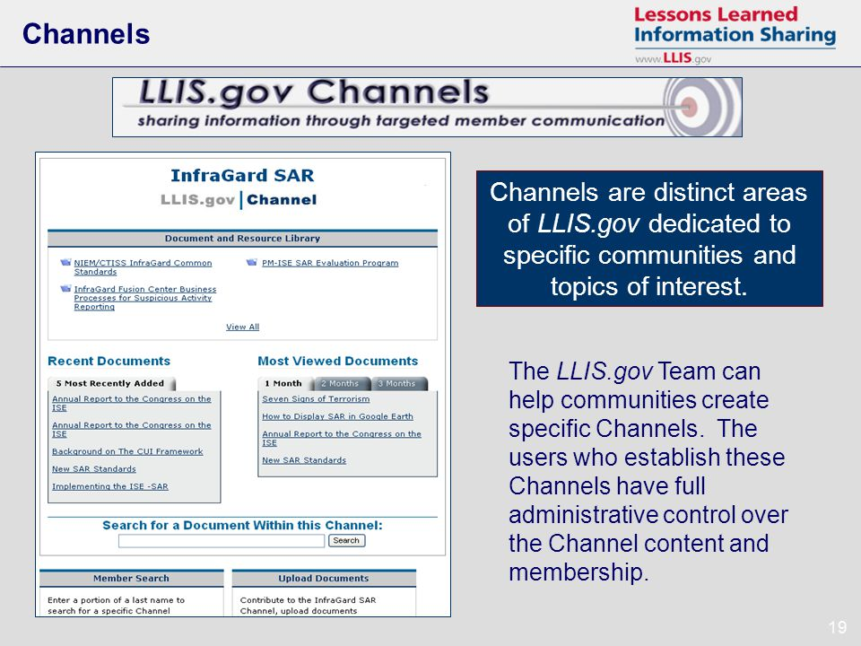 19 Channels Channels are distinct areas of LLIS.gov dedicated to specific communities and topics of interest.