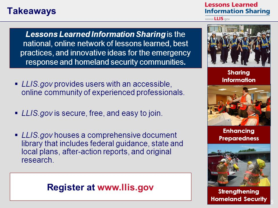 25 Takeaways Register at www.llis.gov Lessons Learned Information Sharing is the national, online network of lessons learned, best practices, and innovative ideas for the emergency response and homeland security communities.