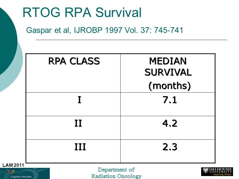 LAM 2011 RTOG RPA Survival Gaspar et al, IJROBP 1997 Vol. 37: 745-741 RPA CLASS RPA CLASS MEDIAN SURVIVAL (months) (months) I 7.1 7.1 II II 4.2 4.2 II