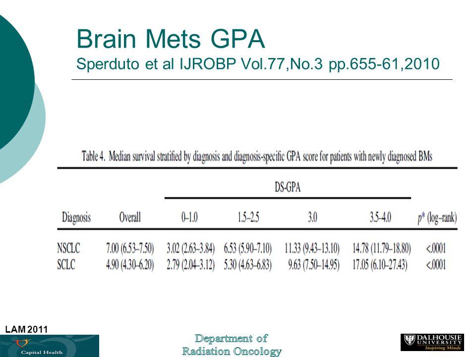 LAM 2011 Brain Mets GPA Sperduto et al IJROBP Vol.77,No.3 pp.655-61,2010