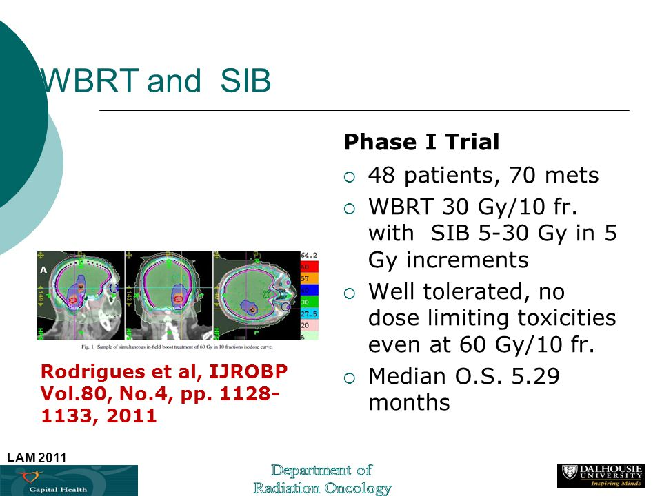 LAM 2011 WBRT and SIB Rodrigues et al, IJROBP Vol.80, No.4, pp. 1128- 1133, 2011 Phase I Trial 48 patients, 70 mets WBRT 30 Gy/10 fr. with SIB 5-30 Gy