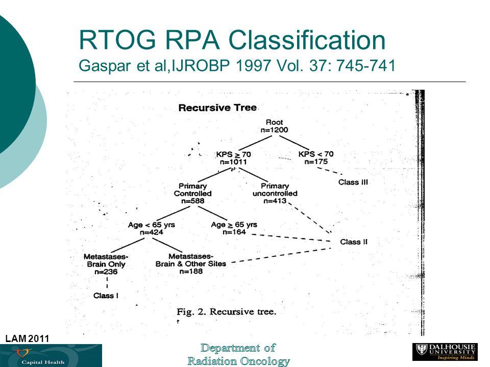 LAM 2011 RTOG RPA Classification Gaspar et al,IJROBP 1997 Vol. 37: 745-741