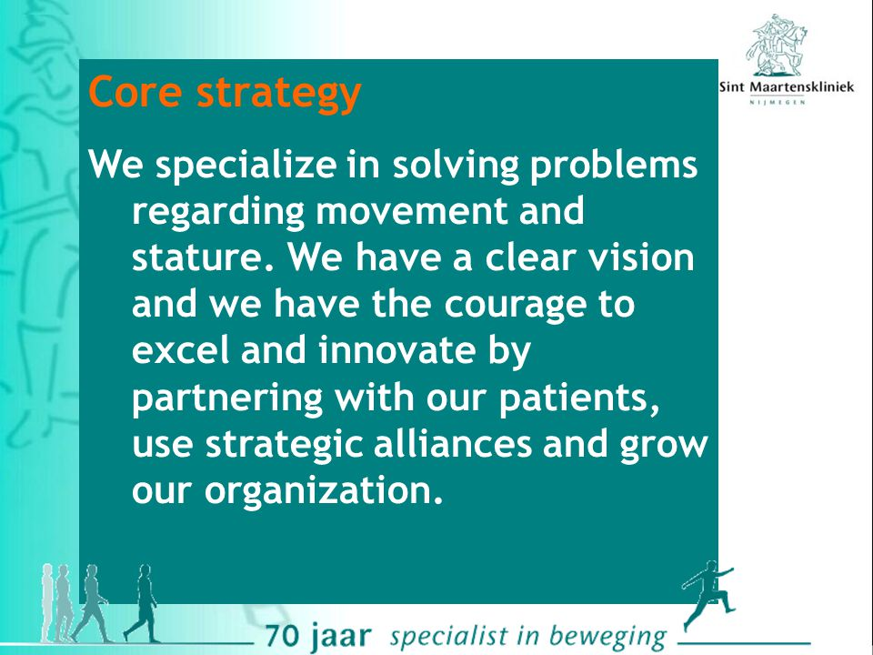 Innovation Partnering Growth Integrated care Innovation Tele-care and e-health Shorter duration of stay Satisfied patients Interactive communication w patients Better accessibility Patient-organizations Insurance companies Covering the Netherlands Also parts of Germany and Belgium Growth of marketshare with 10% Growth of profitibility Strategic development