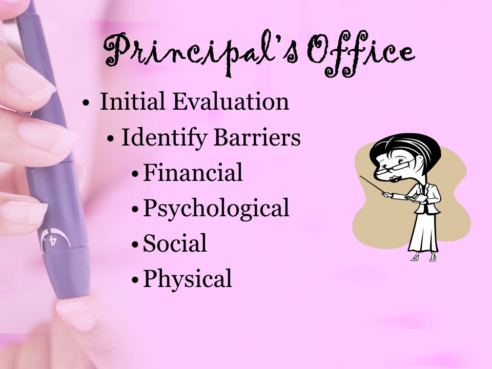 Principals Office Initial Evaluation Identify Barriers Financial Psychological Social Physical
