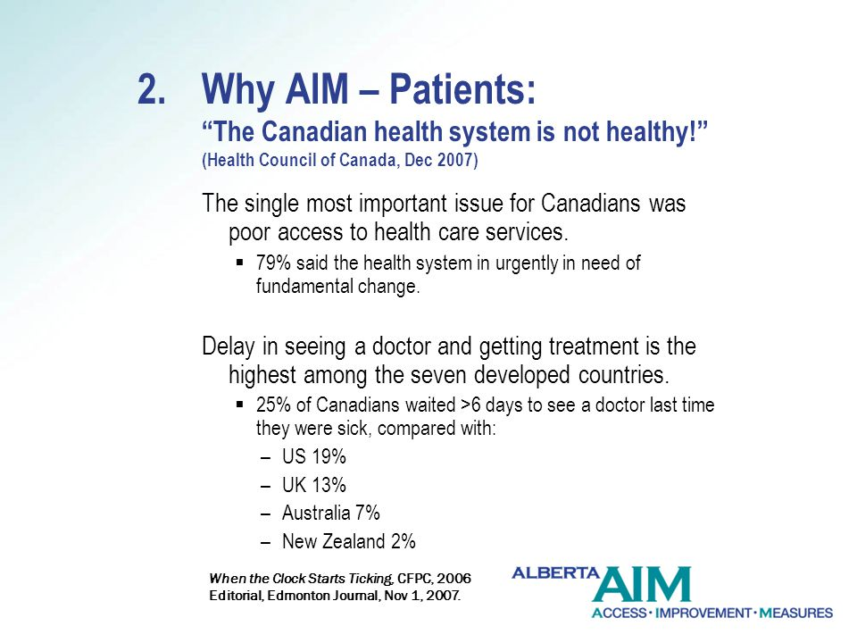 2.Why AIM – Patients: The Canadian health system is not healthy.