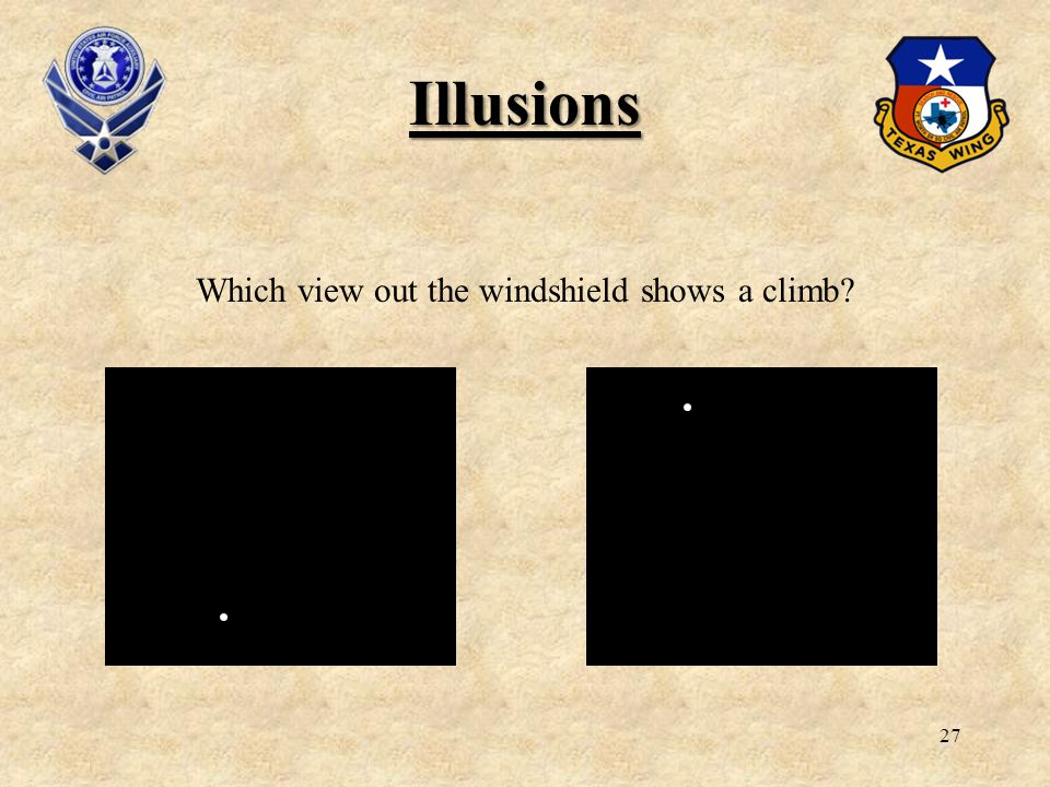27 Illusions Which view out the windshield shows a climb?