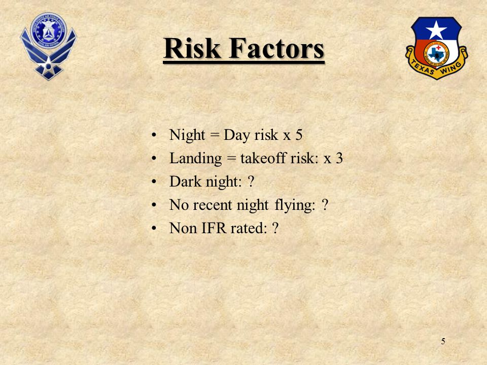 6 1.Night flying has more risks because you cant see well.