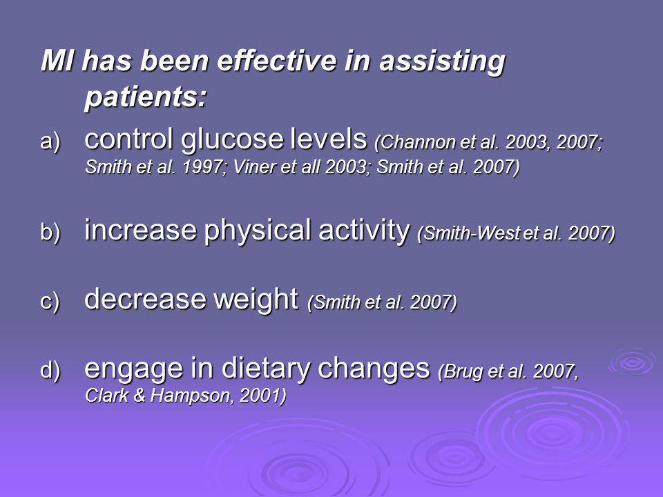 MI has been effective in assisting patients: a) control glucose levels (Channon et al. 2003, 2007; Smith et al. 1997; Viner et all 2003; Smith et al.