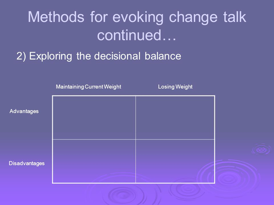 Methods for evoking change talk continued… 2) Exploring the decisional balance Maintaining Current WeightLosing Weight Advantages Disadvantages