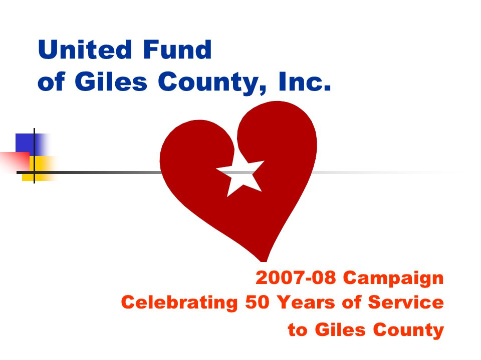United Fund of Giles County, Inc. 2007-08 Campaign Celebrating 50 Years of Service to Giles County