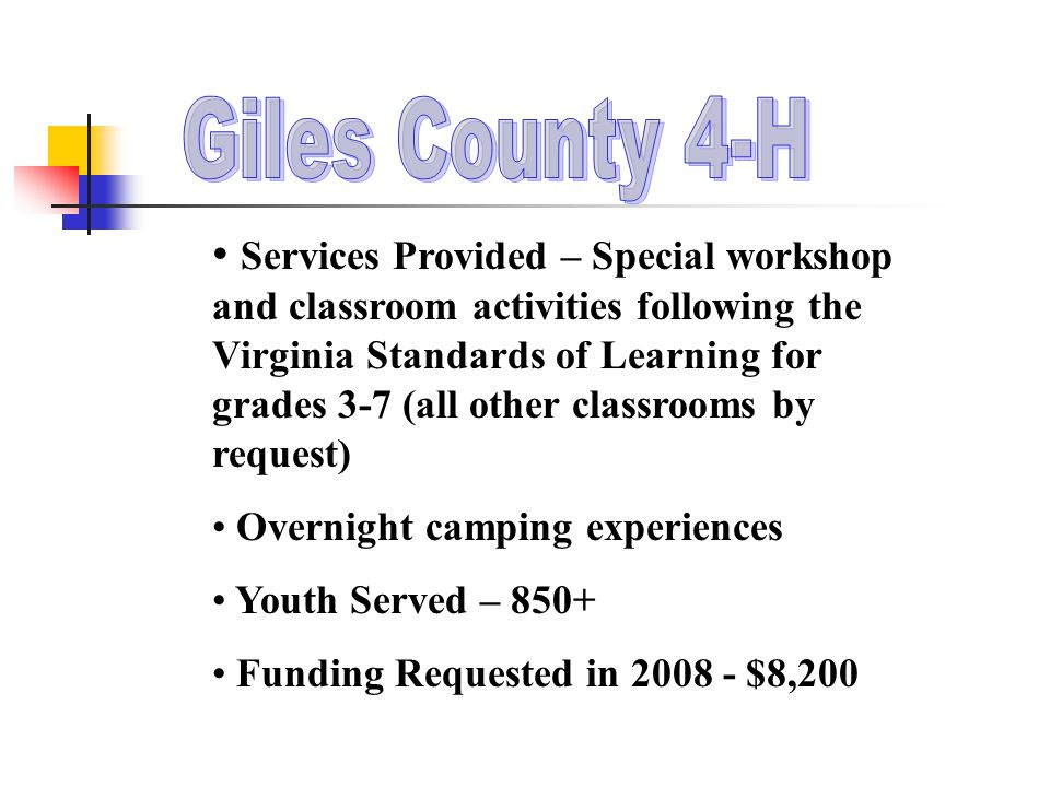 Services Provided – Special workshop and classroom activities following the Virginia Standards of Learning for grades 3-7 (all other classrooms by request) Overnight camping experiences Youth Served – 850+ Funding Requested in 2008 - $8,200