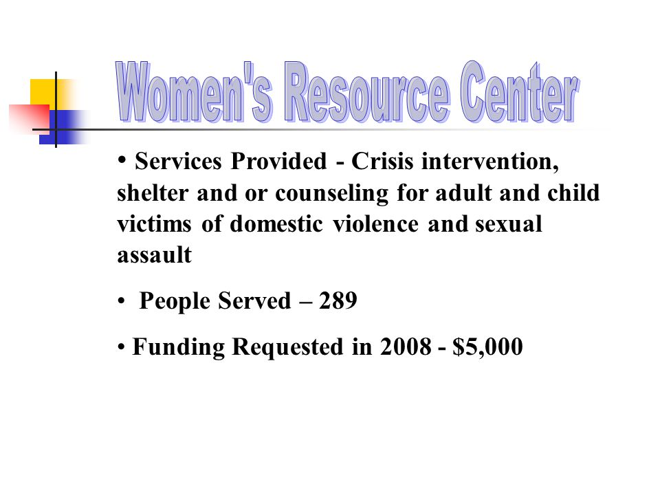 Services Provided - Crisis intervention, shelter and or counseling for adult and child victims of domestic violence and sexual assault People Served – 289 Funding Requested in 2008 - $5,000