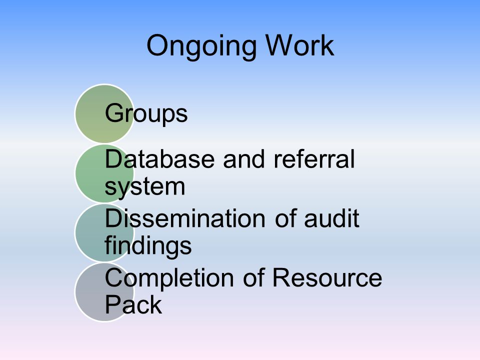 Ongoing Work Groups Database and referral system Dissemination of audit findings Completion of Resource Pack