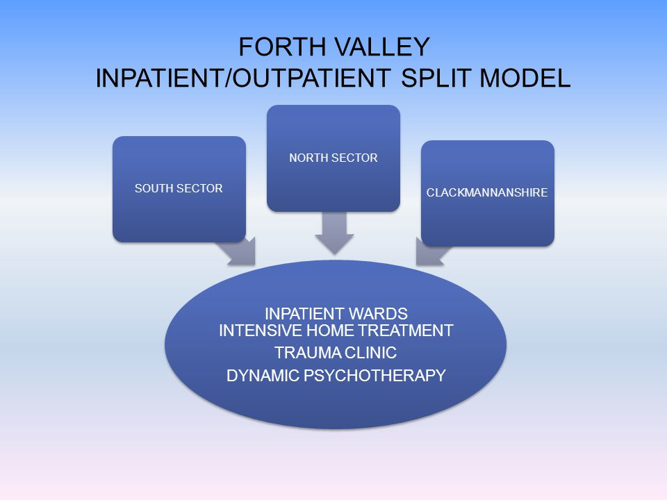 FORTH VALLEY INPATIENT/OUTPATIENT SPLIT MODEL INPATIENT WARDS INTENSIVE HOME TREATMENT TRAUMA CLINIC DYNAMIC PSYCHOTHERAPY SOUTH SECTORNORTH SECTORCLACKMANNANSHIRE