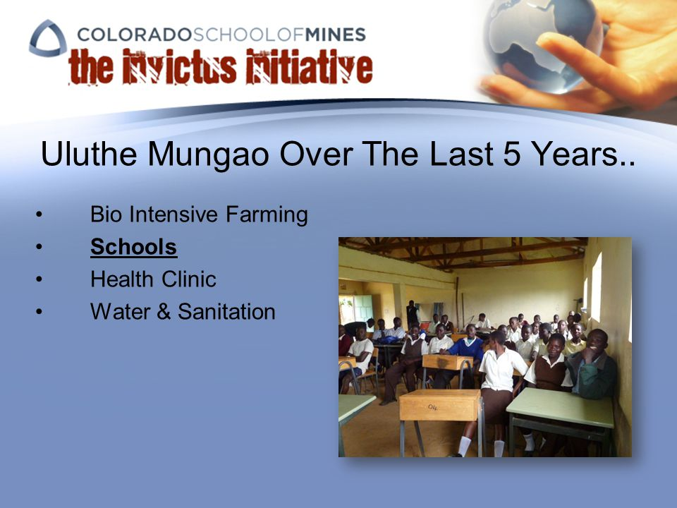 Uluthe Mungao Over The Last 5 Years.. Bio Intensive Farming Schools Health Clinic Water & Sanitation