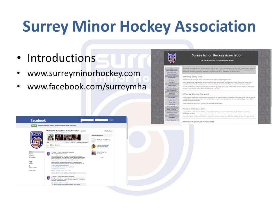 Surrey Minor Hockey Association Introductions www.surreyminorhockey.com www.facebook.com/surreymha