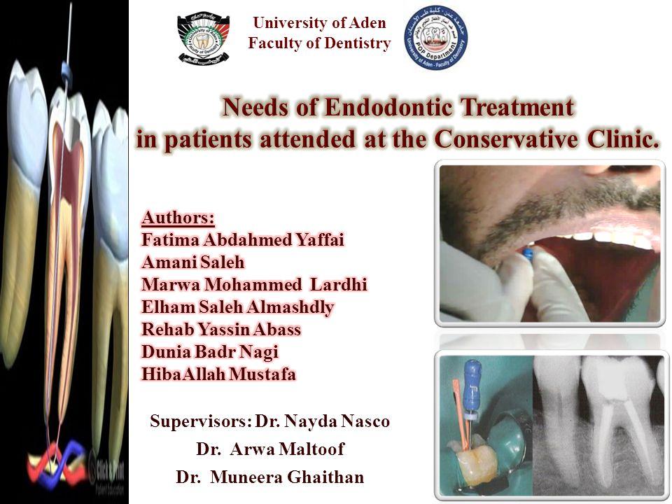 Supervisors: Dr. Nayda Nasco Dr. Arwa Maltoof Dr. Muneera Ghaithan University of Aden Faculty of Dentistry